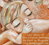 detail of original painting of two mothers with nursing baby, blonde braid, short brown hair, artwork by KmBerggren
