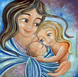 babywearing artwork by KmBerggren brown haired mother with blonde daughter and new baby in sling