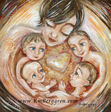 short brown haired mom artwork with four children, four boys by KmBerggren