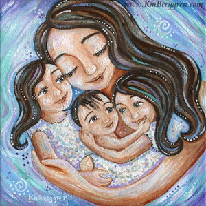 art print in blues of brunette mother with two brown hair daughters and baby by KmBerggren