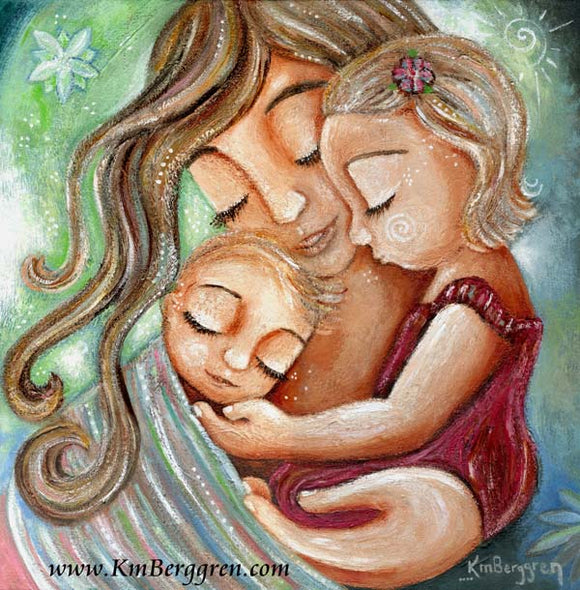 green blue and red artwork of mother wearing baby in front pack while holding girl by KmBerggren
