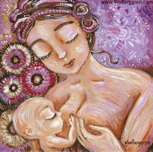 purple and pink breastfeeding art, mother with hair in knots, bald baby nursing, art by KmBerggren