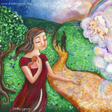 mother thinking about her lost baby artwork by KmBerggren from the Carry You With Me Storybook by Alanna Knobben