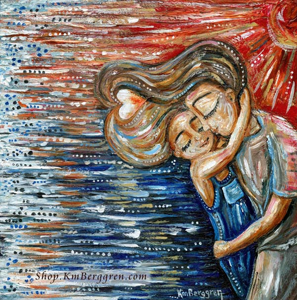 Mom with brown hair hugging blonde daughter on the beach art, personalized mom art, best friend art gift