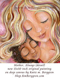 detail of original magenta painting of blonde mother with two biracial sleeping children cuddling her by KmBerggren