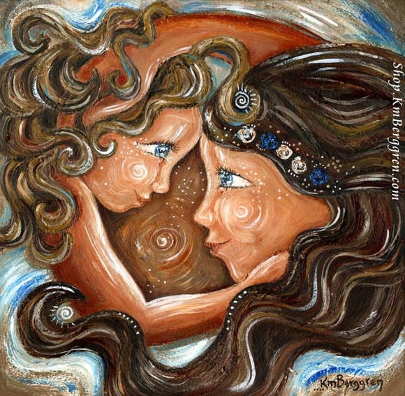 curly blonde daughter artwork with brown haired mom, face to face with flower wreath art by KmBerggren