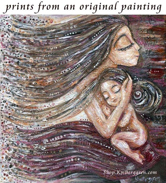 art print of mother with long hair holding naked child by KmBerggren