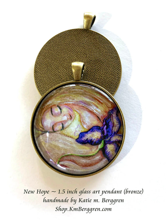 fertility gift for woman glass art pendant necklace mothers gift 1.5 inches across handmade by the artist