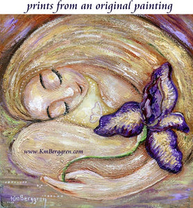 Fertility art print of blonde mother with giant purple iris flower by KmBerggren