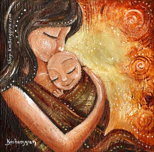 red artwork of mother babywearing an infant with orange and yellow swirls, by KmBerggren