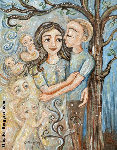 art print of mother with tall teenage son and memories of him as a baby with whimsical tree by KmBerggren