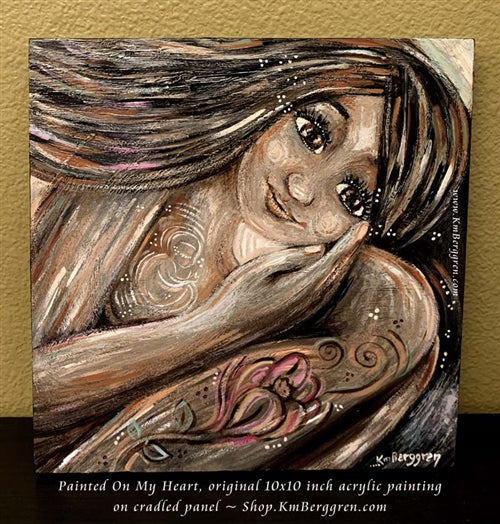 original painting on wood panel by kmberggren about mother waiting for conception