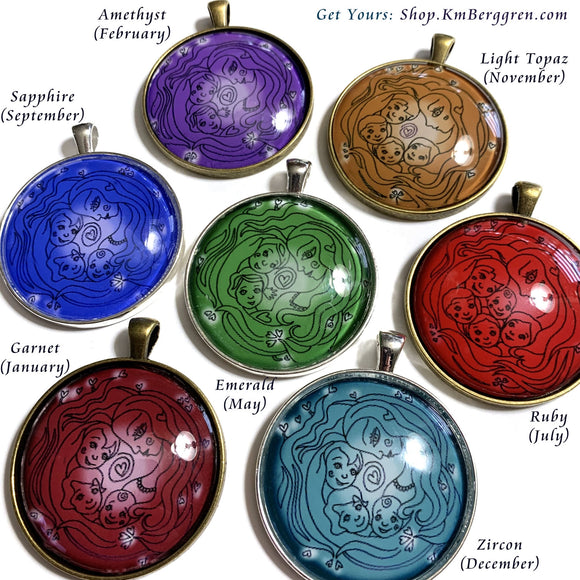 glass art pendant for mothers in birthstone colors from KmBerggren