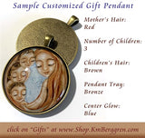 glass art pendant for mothers - customize the number of children and colors - handmade by KmBerggren