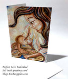 mother breastfeeding baby mini art 5x7 card