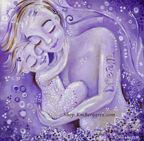 purple mother and daughter sleeping art print, Dream tattoo on mothers arm, by KmBerggren