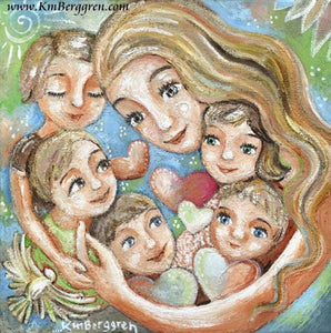 art print of mother with long blonde hair and her five children with hearts and birds by KmBerggren