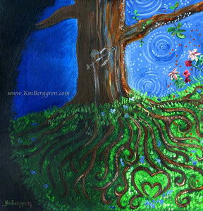 Tree with roots that make a heart, detailed and beautiful tree on a hill artwork by KmBerggren from the Carry You With Me book by Alanna Knobben
