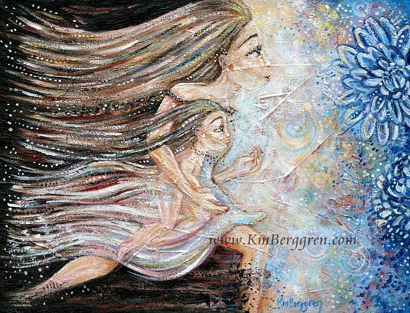 Run Away With Me - Running Mother Inner Child Art Print