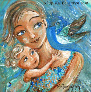 Sacred & True - Original 8x8 Blonde Child & Bird Art Painting