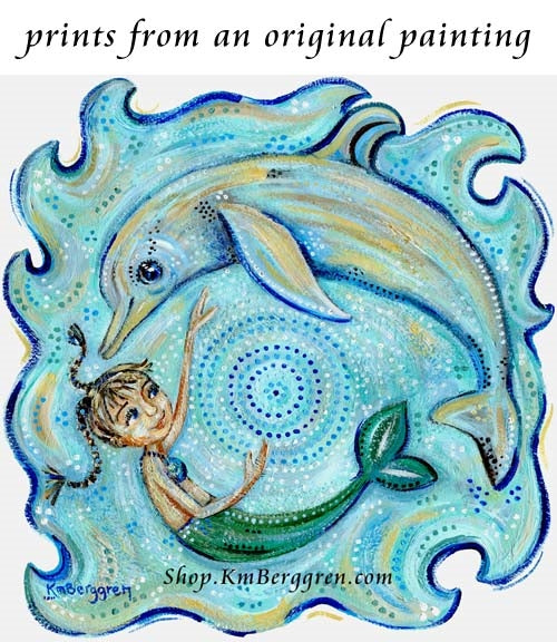mermaid and dolphin art print in turquoise colors by KmBerggren