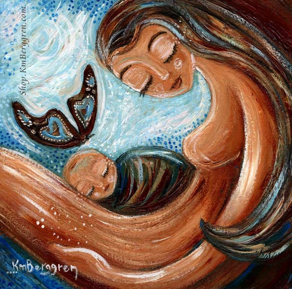 prints of a mother with a baby in her lap, butterfly landing on babys head, memorial loss artwork by KmBerggren