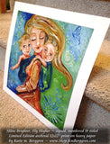 blonde mother and two blonde children tandem babywearing art by KmBerggren