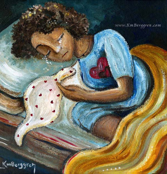 mother crying in bed, sad because of miscarriage or baby loss, artwork by KmBerggren from the Carry You With Me Storybook by Alanna Knobben