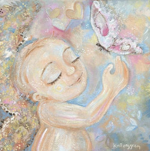 angel child art in soft pastels with big pink butterfly by KmBerggren