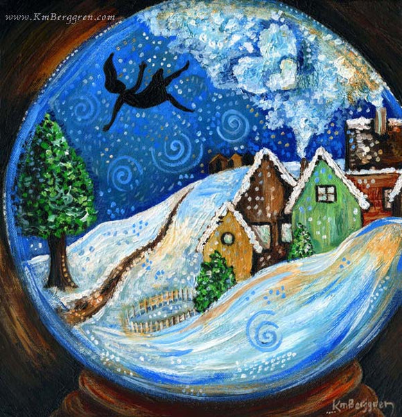 woman falling from the sky in a snow globe world because of despair, artwork by KmBerggren from the Carry You With Me book by Alanna Knobben