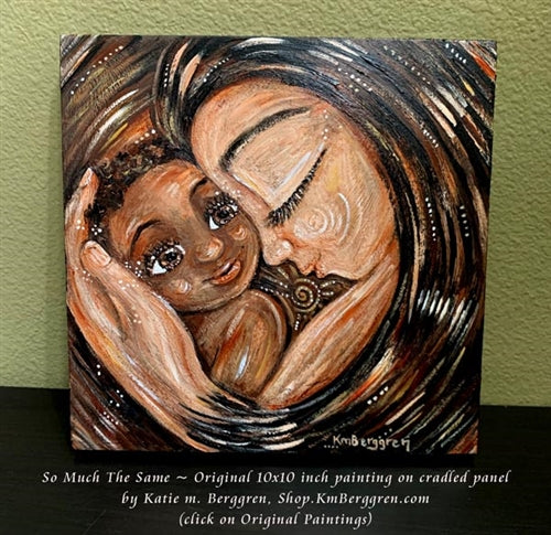original painting of brunette mother with African American child by KmBerggren