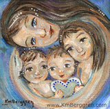 art print of mother with three children and heart in blue by KmBerggren