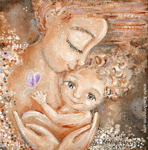pink and purple art print of mother with curly haired child by KmBerggren