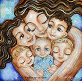 art print of mother with brown hair and five children, 3 blonde and new baby by KmBerggren