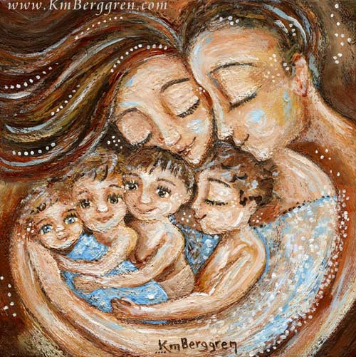 father and mother cuddling four young children, artwork in reds and blues by KmBerggren