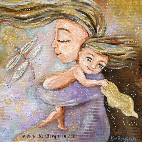 blonde mother and daughter in purple dress with dragonfly art