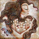brunette mother with three brunette children and butterfly and heart by KmBerggren