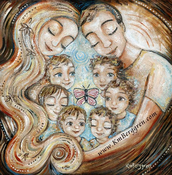 father and mother cuddling six young children, artwork in reds and blues by KmBerggren