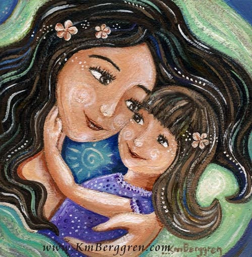 black haired mother artwork holding brown hair daughter with plumeria