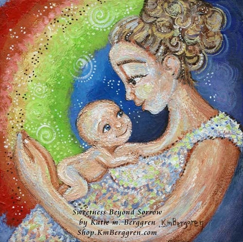 rainbow baby artwork, mother and new baby surrounded by a rainbow