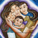 brunette mother hugging three brown haired children with purple blue and white background