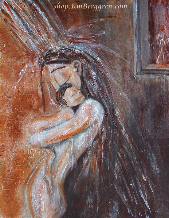 artwork showing mother showering with naked toddler red and brown by KmBerggren