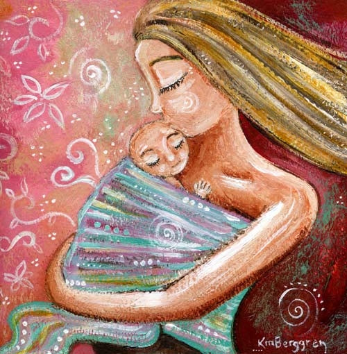 pink and green art print of blonde mama wearing blonde baby
