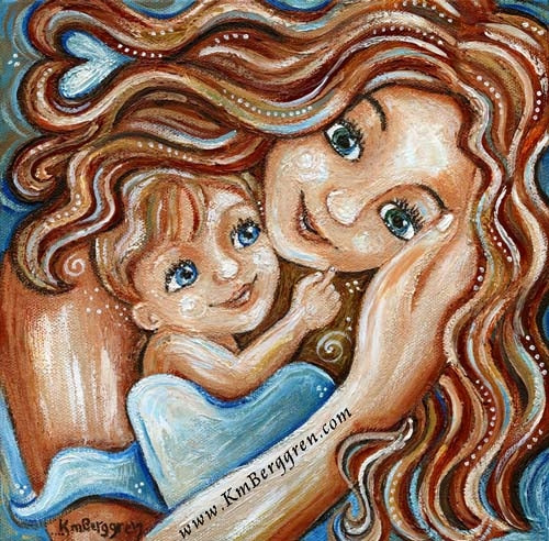 red haired mother artwork with red haired child with blue eyes and hidden heart