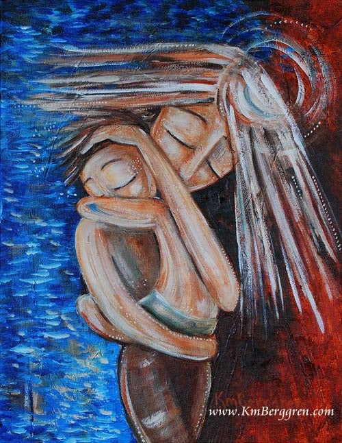 red and blue art print of mother protecting child