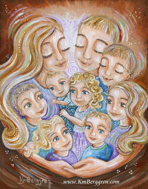 red and blue art print of father and mother with seven children by Katie m. Berggren, customizable family art, dad art, gift for dad with a lot of kids