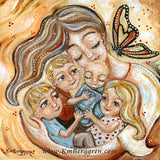 light brown haired mother with three blonde children and new baby with monarch by KmBerggren