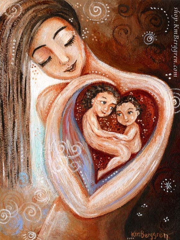 red and warm art print of long haired mother holding two children in her heart by KmBerggren