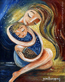 custom mother and son art gift, red, yellow and blue artwork of a mother hugging her spiky haired blonde son, sitting together, mother and child gift idea