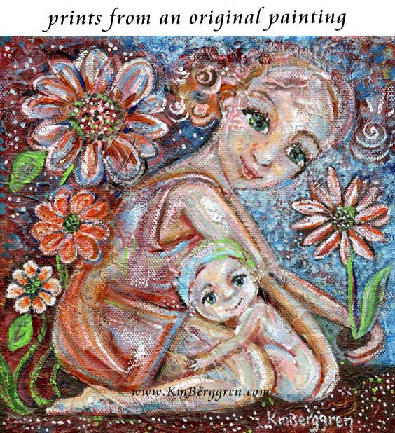 art print of mother gardening with naked baby leaning against her in the dirt by KmBerggren